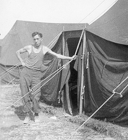 Dad outside tent